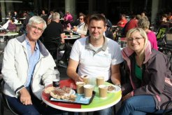 My husband, my son and his girlfriend, Royal Festival Hall. Olympic and Paralympic Victory Parade 2012