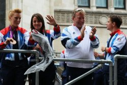 Nicola White and Emily Maguire, Hockey. Olympic and Paralympic Victory Parade 2012
