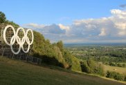 Olympic Rings and Brockham, from Box Hill. Women's Olympic Road Cycling Road Race, 2012