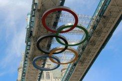 Olympic Rings retracted, Tower Bridge. London 2012 Olympic Games