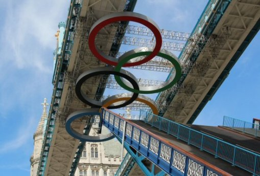 Olympic Rings, Tower Bridge opening. London 2012 Olympic Games