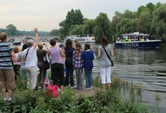 Police Launch. Olympic Torch, The Gloriana, River Thames, Richmond. 27th July 2012
