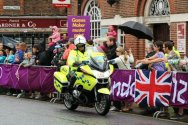 Police Organisation motorcyclist, Dorking. Women's Olympic Road Cycling Road Race, 2012