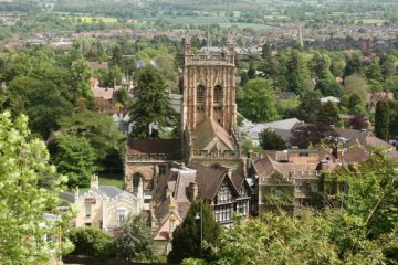 Priory Church, from Rose Bank Gardens, Great Malvern