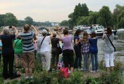 Richmond Bridge and Gloriana. Olympic Torch, The Gloriana, River Thames, Richmond. 27th July 2012