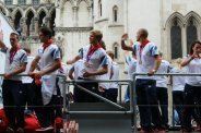 Rowing float. Olympic and Paralympic Victory Parade 2012