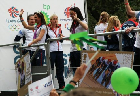 Sarah Storey and Victoria Pendleton, Cycling. Olympic and Paralympic Victory Parade 2012