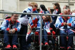 Scott McCowan, Jess Hunter and Nigel Murray, Boccia. Olympic and Paralympic Victory Parade 2012