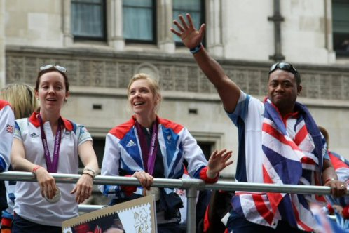 Stef Reid, Long Jump, Bethany Woodward, 200m T37 and Derek Derenalagi, Discus. Olympic and Paralympic Victory Parade 2012