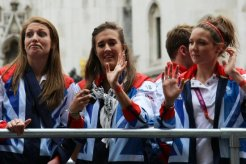 Swimming float. Olympic and Paralympic Victory Parade 2012