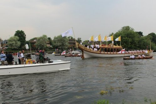 Thames Alive Press launch and Gloriana. Olympic Torch, The Gloriana, River Thames, Richmond. 27th July 2012