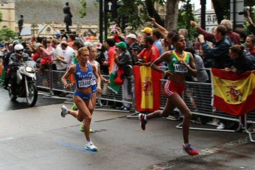 Valeria Straneo, Italy and Aselefech Mergia, Ethiopia. Women's Olympic Marathon, 2012