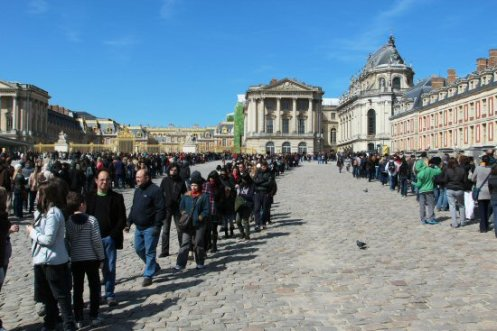 Visitors queuing, Great Courtyard, Palace of Versailles