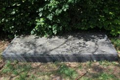 Slate memorial to Laurence Binyon, poet, St. Mary's Churchyard, Aldworth