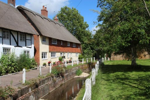 Brook Cottages and River Meon, East Meon