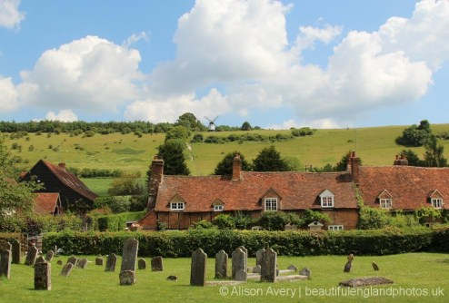 Ibstone Windmill, from St. Mary's Churchyard, Turville (Vicar of Dibley village)
