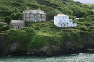 Roscarrock Hill, showing Doc Martin's house, from The Old School Hotel, Port Isaac