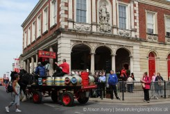 Horse drawn dray and The Guildhall, The Queen's 90th Birthday, Windsor