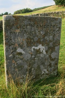 Grave of Alice Hancocke, plague victim, Bur Aug 9th 1666, Riley Graves, Eyam