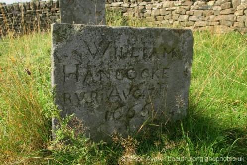 Grave of William Hancocke, plague victim, Bur Aug 17th 1666, Riley Graves, Eyam