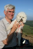 My husband and my dog, summit, Roseberry Topping, North York Moors