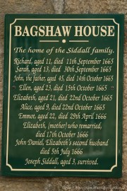 Plague victims plaque, Bagshaw House, Eyam
