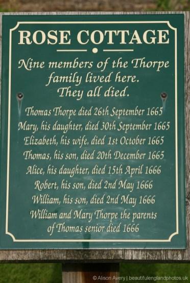 Plague victims plaque, Rose Cottage, Eyam