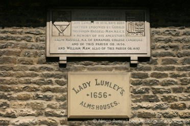 Plaque, Lady Lumley's Almshouses, Thornton-le-Dale