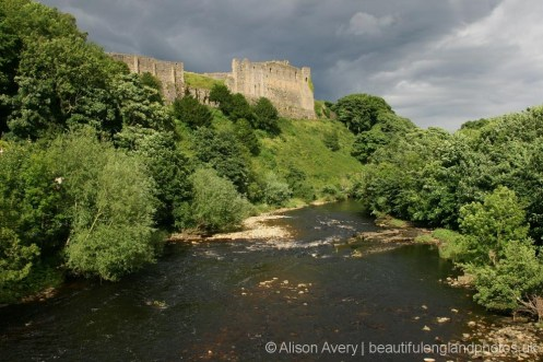 Richmond Castle and River Swale, from Green Bridge, Richmond