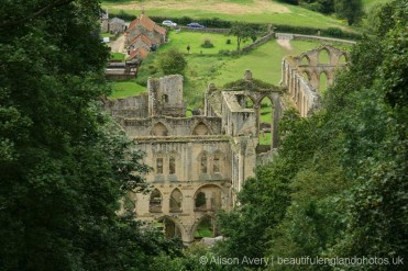 Rievaulx Abbey, from, Rievaulx Terrace