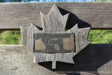 Plaque, Canadian Memorial Bench, Bramshott Common