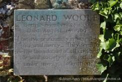 Plaque below Bust of Leonard Woolf, Monk's House Garden, Rodmell