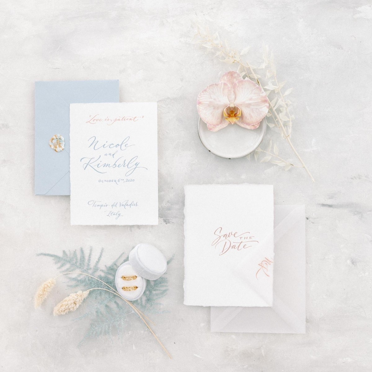 why you need save the date cards - wedding calligraphy studio in Italy - romantic and classic wedding invitation in shades of blue