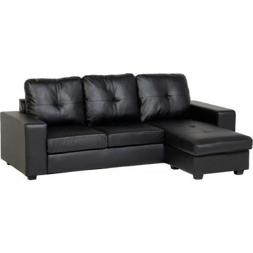 benson corner sofa in black faux leather