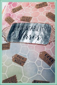 Accountability Mirror Spread Background Mirror Rubberstamp Ink Close Up