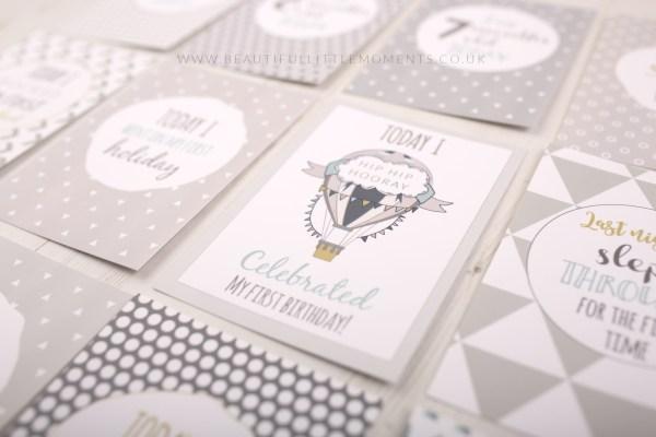 milestone cards grey