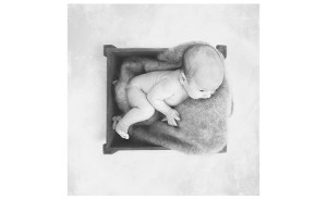 black and white photo of baby boy in a crate with blanket
