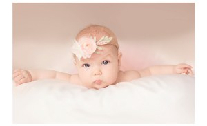 4 month old baby girl with floral headband
