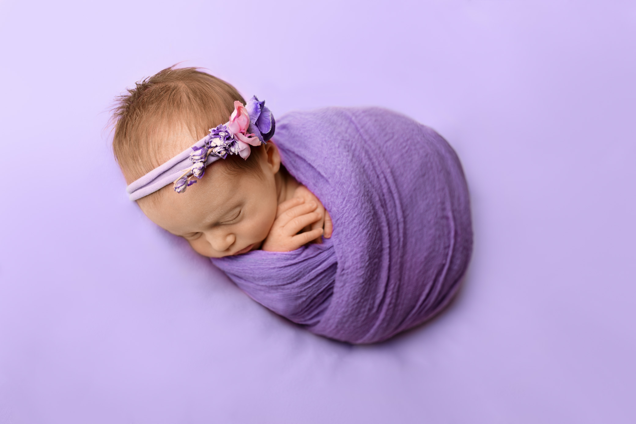 newborn baby girl studio photo session epsom wrapped floral headband