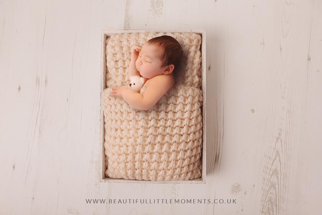 newborn-baby-girl-cream-bed-bear-epsom-surrey