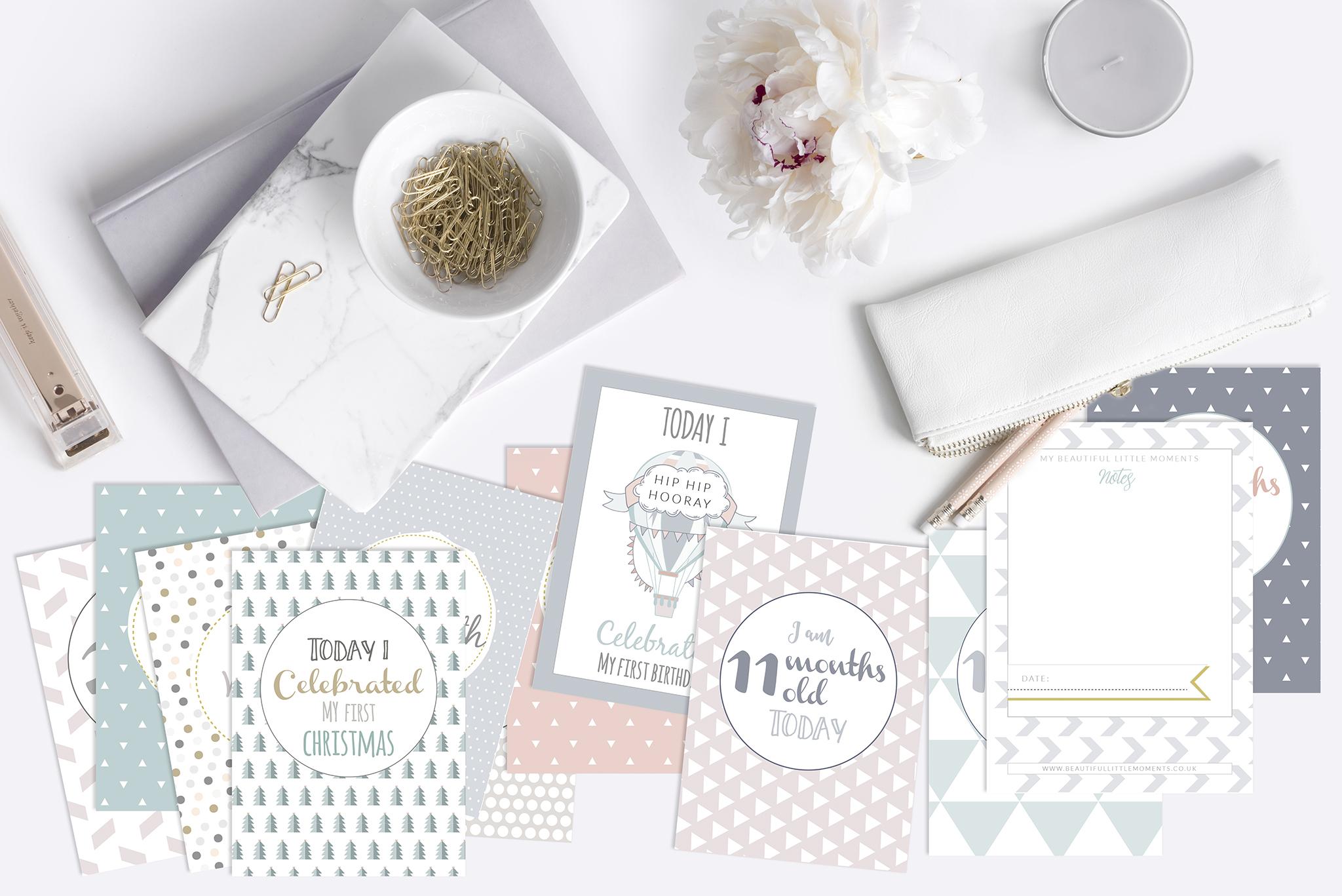 milestone cards gender neutral multi colour