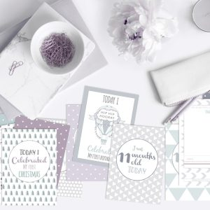 milestone cards gender neutral purple sage green