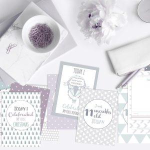 milestone cards gender neutral purple sage green