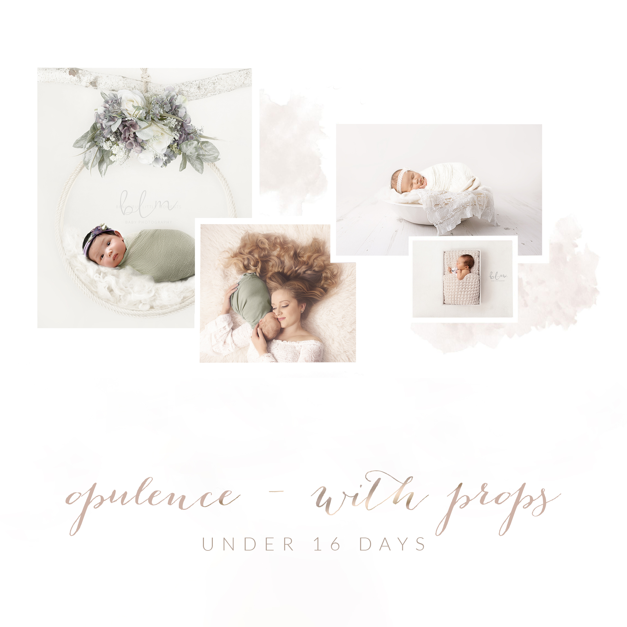 newborn opulence session with props