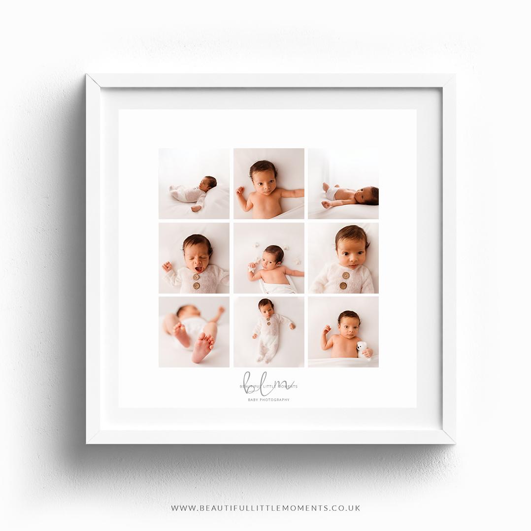 9 image frame newborn photography epsom
