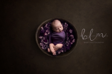 newborn-boy-brown-purple-bowl-flowers