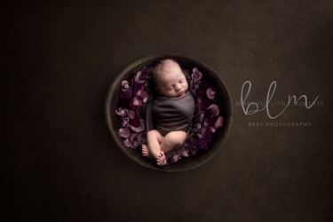 newborn-boy-brown-red-bowl-flowers