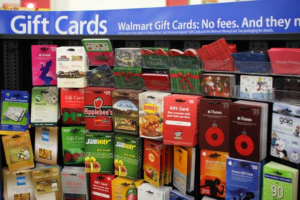Many major stores offer gift cards to several places!