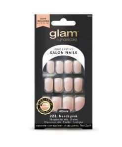 Manicare Glam Glue On Nails French Sq Pink Med