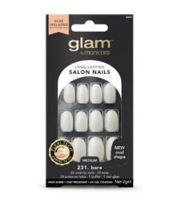 Manicare Glam Glue On Nails Bare Oval Med